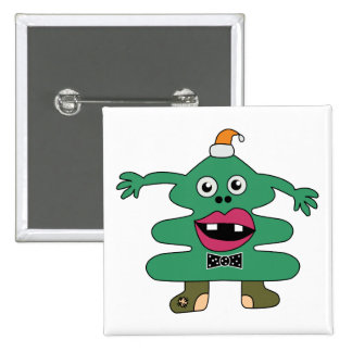 New Year Tree Monster Button