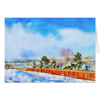 New Year Winter Watercolor Landscape Russian Card