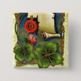 New Year With Four Leaf Clover 15 Cm Square Badge
