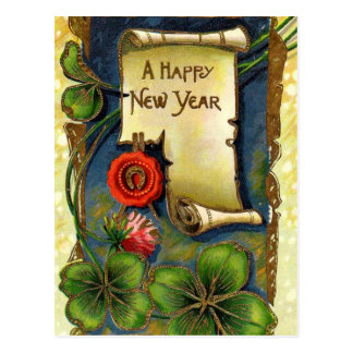 New Year With Four Leaf Clover Postcard