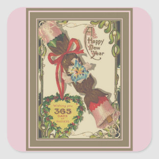 New Year With Pink Bonbon Square Sticker