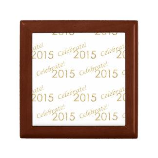 New Year's 2015 Gold Glitter on White Gift Box