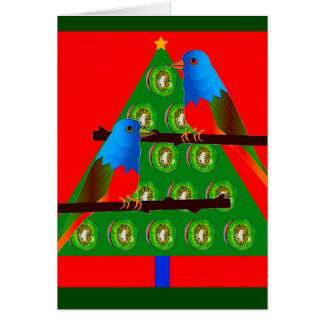 New Years Card with Painted Bunting Bird Art