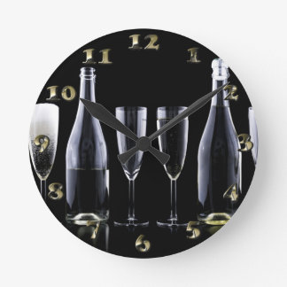 New Year's Day Champagne Toast Round Clock