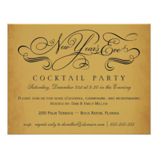 New Year's Eve Cocktail Party Vintage Invitations