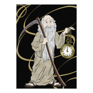 New Years Eve Father Time and His Clock Custom Invitation