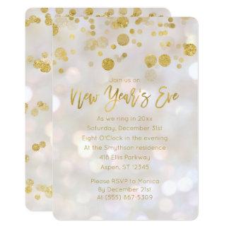 New Year's Eve Gold Iridescent Bokeh Invitation