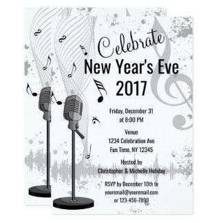 New Year's Eve Musical Black White Party Invite