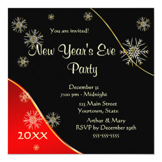 New Year's Eve Party 2015 13 Cm X 13 Cm Square Invitation Card