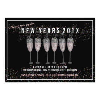 New Years Eve Party Champagne Celebration Invite