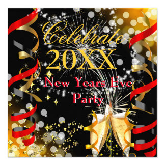 New Years Eve Party Champagne Festive Red Gold Card