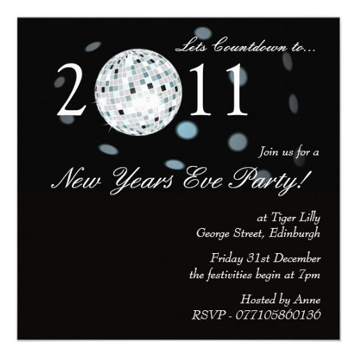 New Years Eve Party Disco Ball Invitation