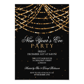 New Years Eve Party Festive String Lights Gold Card