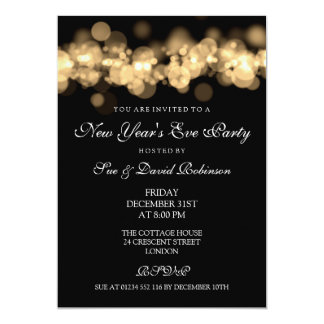 New Year's Eve Party Gold Bokeh Lights Card