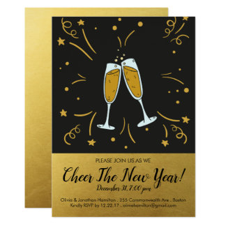 New Year's Eve Party Gold Cheer Champagne Toast Card
