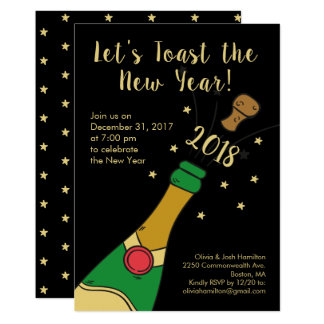 New Year's Eve Party Hand-drawn Champagne Toast Card