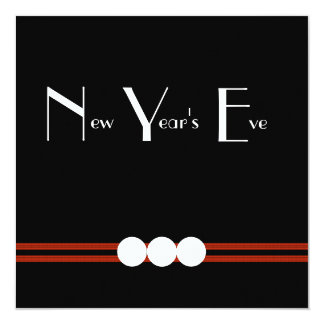 New Years Eve Party in Black and White Custom Card