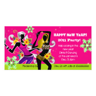 New Year's Eve Party Photo Card Dancing Pink