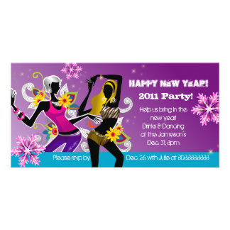 New Year's Eve Party Photo Card Dancing Purple