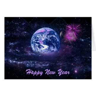 New Year's Fireworks in Space Card