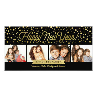 New Years Gold Dots 4-Photo Card