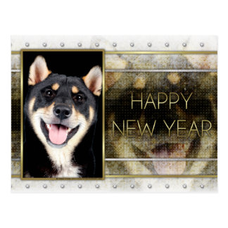 New Years - Golden Elegance - Shiba Inu - Hachi Postcard