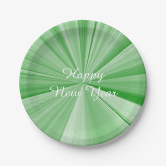 New Years Green Paper Plates by Janz 7 inch 7 Inch Paper Plate