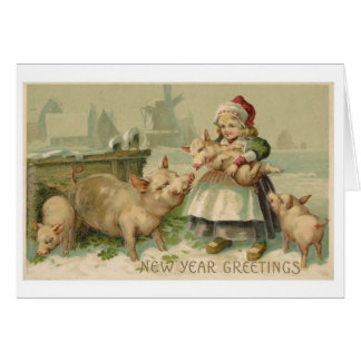 New Year's Greeting card Girl with Pigs