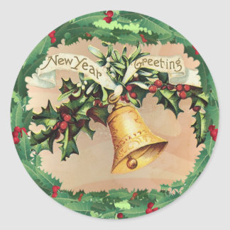 NEW YEARS GREETINGS & HOLLY by SHARON SHARPE Classic Round Sticker