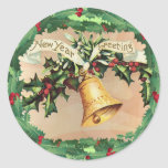 NEW YEARS GREETINGS & HOLLY by SHARON SHARPE Sticker