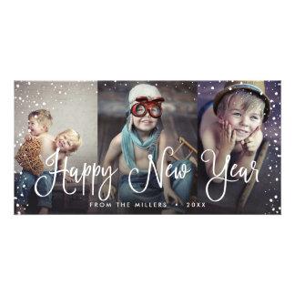 New Years Holiday Snow Seamless 3-Photo Card