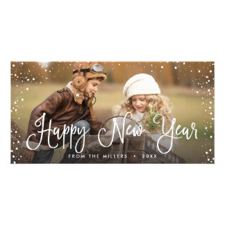 New Years Holidays Snow Photo Card