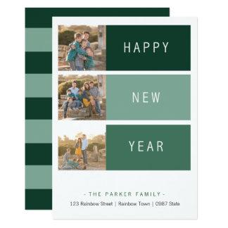 New Year's modern Photo Card template green shade
