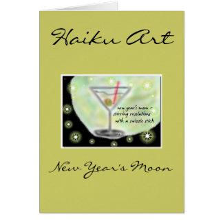 New Year's Moon Haiku Art Greeting Card