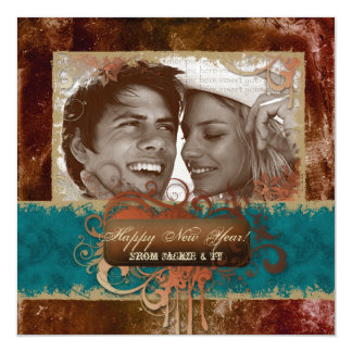New Year's Party Grunge Copper Blue Photocard 13 Cm X 13 Cm Square Invitation Card