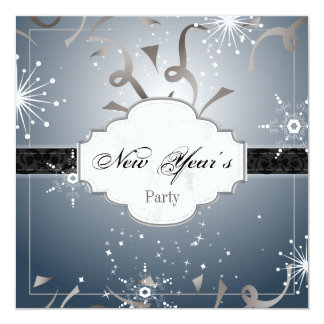 New Year's Party Invitation Black Blue Streamer