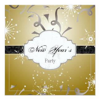 New Year's Party Invitation Black Gold Streamer