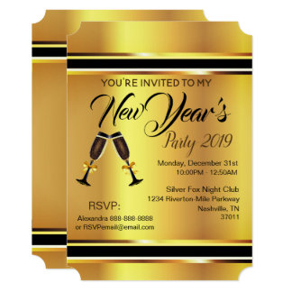 New Year's Party Invitation (Golden Elegance)
