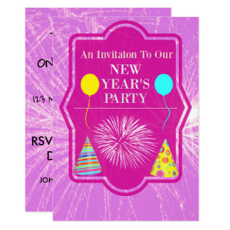 New Years Party with Fireworks Background Card