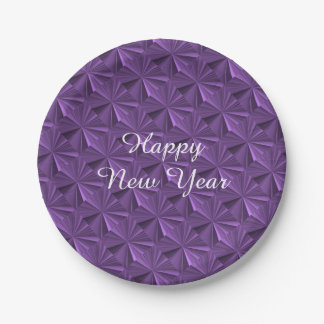 New Years Purple Diamond Paper Plates by Janz 7 Inch Paper Plate