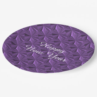 New Years Purple Diamonds Paper Plates by Janz 9 Inch Paper Plate