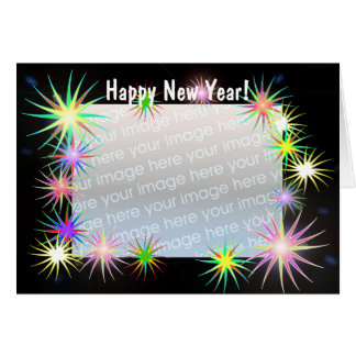 New Years Starblast on Black (photo frame) Card