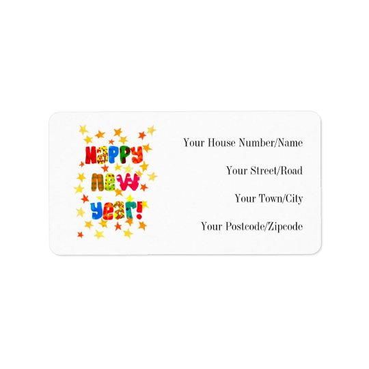 New Year's Starry Return Address Label