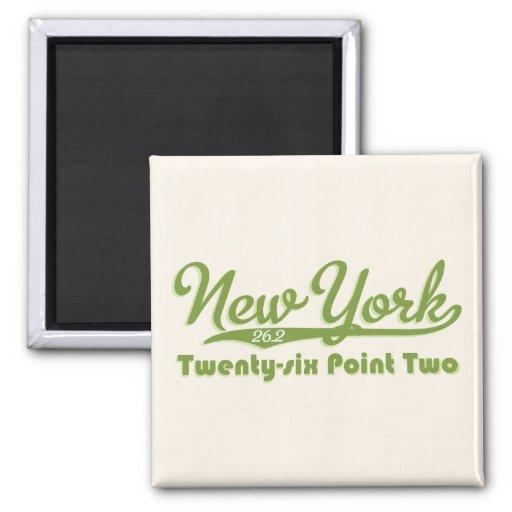New York 26.2 Green Marathon Button Refrigerator Magnet