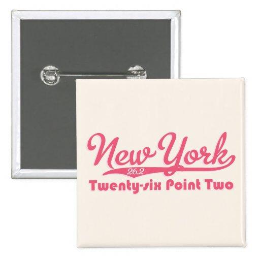New York 26.2 Pink Marathon Button