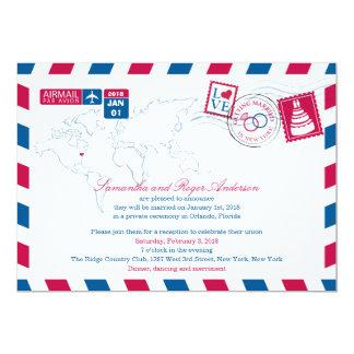 New York Airmail Post Wedding Reception 13 Cm X 18 Cm Invitation Card