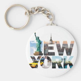 New York Alphabet Montage Key Ring