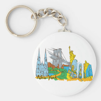 New York, America Famous City Basic Round Button Key Ring