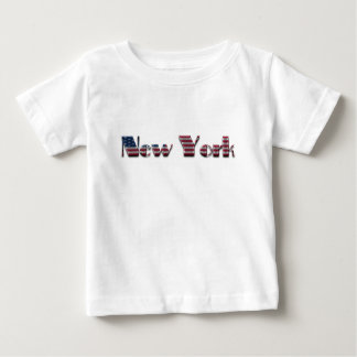 New York American Flag Colors Typography Baby T-Shirt