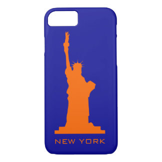 New York and Liberty In Orange and Blue iPhone 7 Case